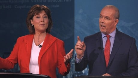 Collage Christy Clark & John Horgan debate 2017