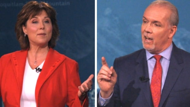 B.C. Liberal leader Christy Clark and B.C. NDP leader John Horgan spar. Voters in that province are going to the polls tomorrow.