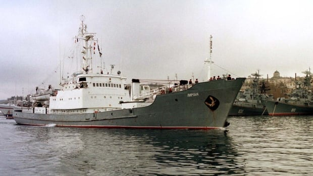 Russian reconnaissance ship Liman, seen here leaving the Black Sea naval base of Sevastopol in 1999, collided with another vessel off the Turkish coast on Thursday.
