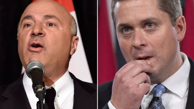 Kevin O'Leary (left) met with Conservative leadership candidate Andrew Scheer (right) before deciding to endorse Maxime Bernier, sources told CBC News.