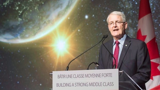 Minister of Transport and former astronaut Marc Garneau announced how the new funds will be put to use at the Canadian Space Agency headquarters in St. Hubert, Que, Thursday.
