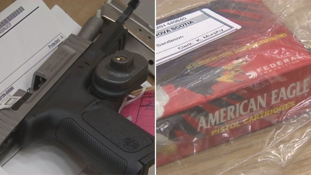 Handgun and cartridge presented as evidence in Sandeson trial
