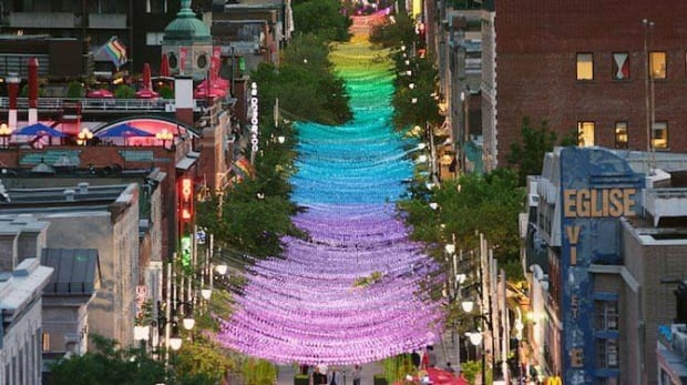 Ste-Catherine Street rainbow balls