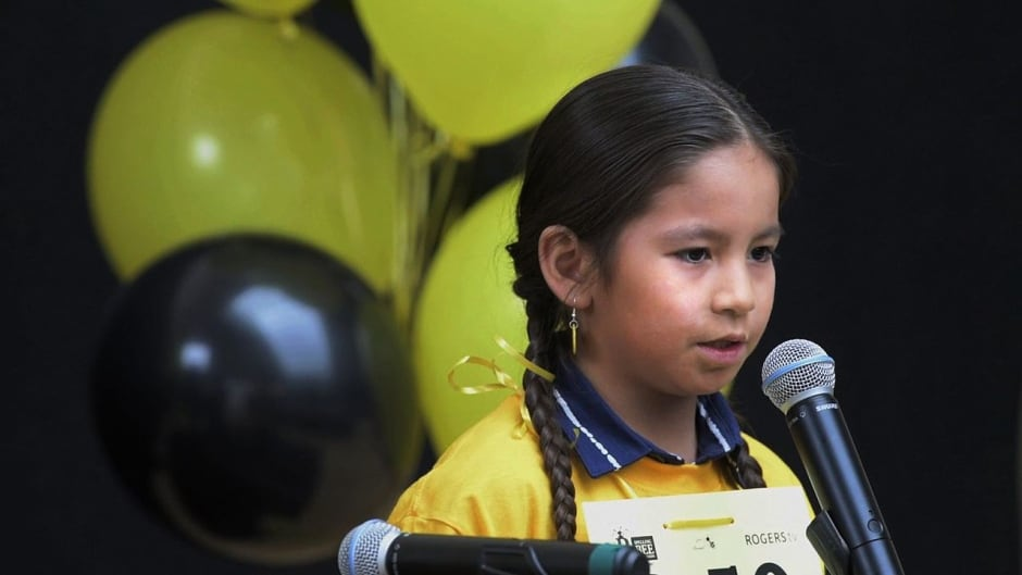 William Kaysaywaysemat III competing in the 2016 Spelling Bee of Canada competition