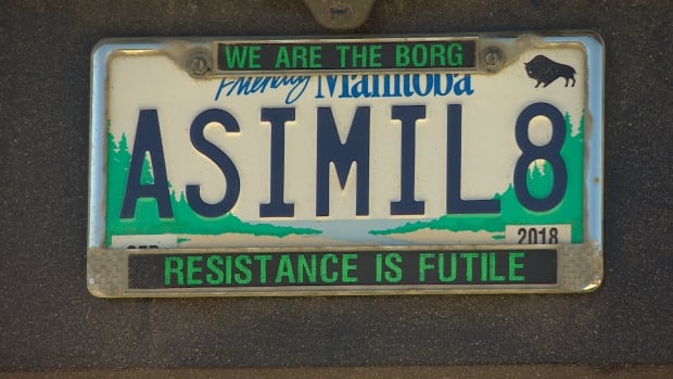 Nick Troller's ASIMIL8 plate has been deemed offensive by Manitoba Public Insurance, which says it could suggest past attempts to assimilate Indigenous people.