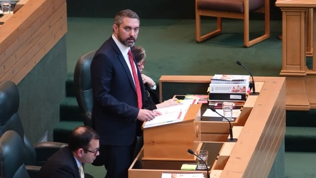 Yukon Premier and Finance Minister Sandy Silver delivers his government's first budget in the Yukon legislature on Thursday. The budget projects a surplus this year of $6.5 million.