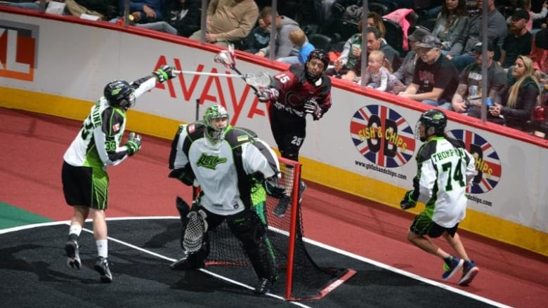 A hat trick by Ben McIntosh helped lead the Saskatchewan Rush to victory  over the Colorado Mammoth in Denver on Friday. (Saskatchewan Rush) 3e04479f2fd