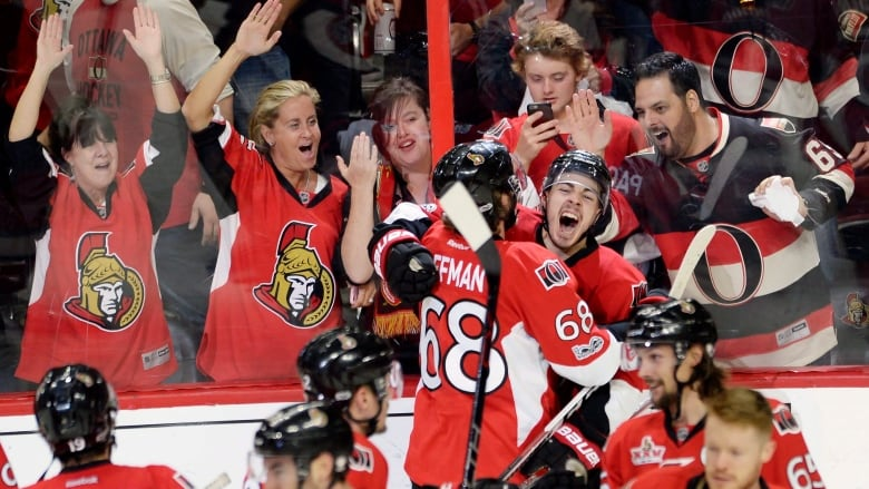 45798ef66a4 ... goal with Mike Hoffman during the second overtime period in Game 2 of a  second-round NHL hockey Stanley Cup playoff series against New York Rangers  ...