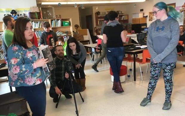 Student filmmakers with director Ben Noah