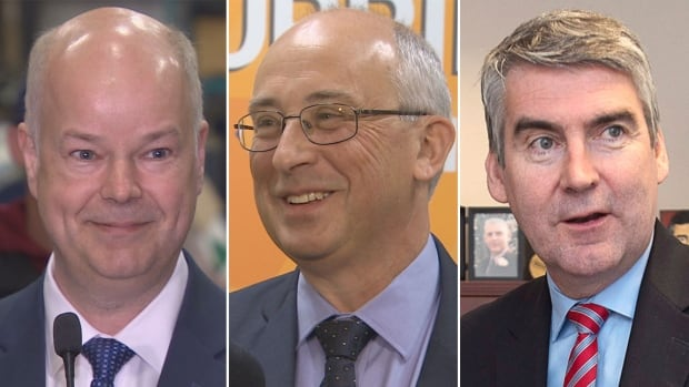 Progressive Conservative Leader Jamie Baillie (left), NDP Leader Gary Burrill (centre) and Liberal Leader Stephen McNeil (right) will square off in a 90-minute debate hosted by CBC Nova Scotia.