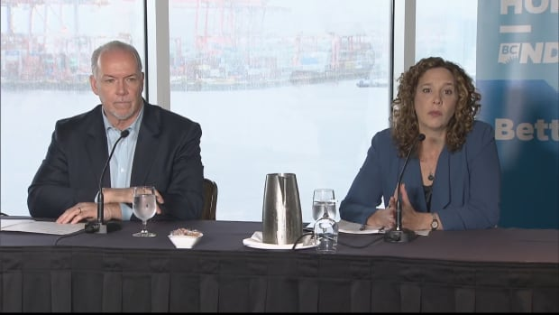 B.C. NDP Leader John Horgan and Tzeporah Berman attend an event in downtown Vancouver. Berman supports the B.C. NDP, which does not support the TransMountain pipeline expansion.