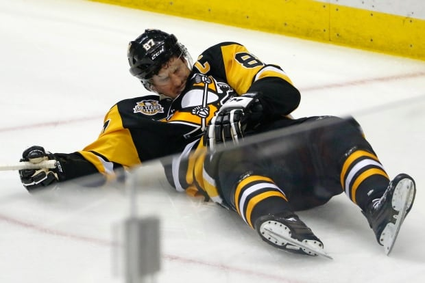 Sidney Crosby was laid low by a hit from Matt Niskanen in Game 3 against Washington