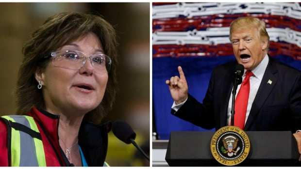 Liberal Leader Christy Clark (left) has said in recent days she is the best leader to stand up to U.S. President Donald Trump (right) and his protectionist policies.