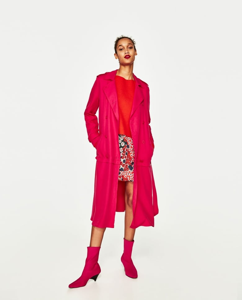 7358c95ac5381a Fuchsia takes the trench to a whole new level. The ruffled edge makes this  a great jacket to wear over a dress and it easily dresses up pants.