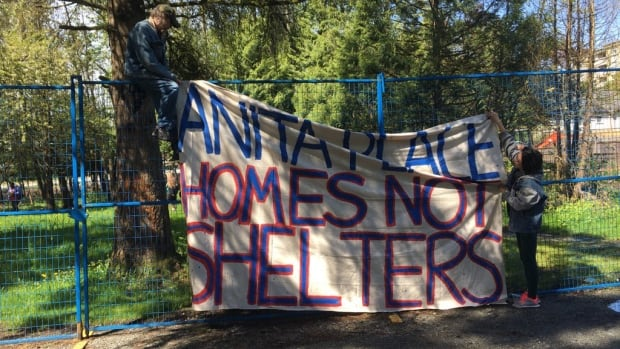Shelter residents and their supporters set up camp on city property without permission, in protest of the planned closure of a 40-bed low-barrier shelter.