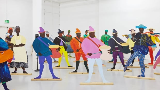 62-year-old Lubaina Himid is among the four nominees for this year's Turner Prize. Here's a look at her piece Navigation Charts, displayed at Spike Island in Bristol.
