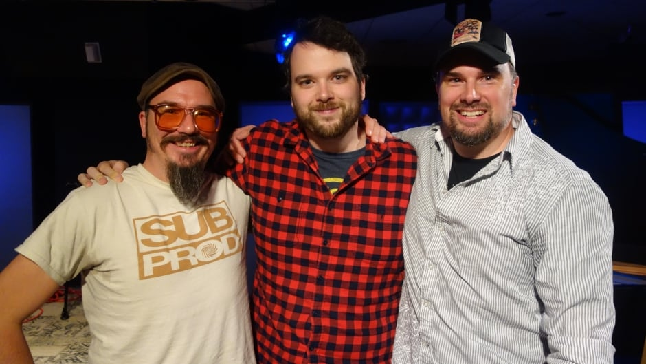 First Round Down directors Brett and Jason Butler with Tom Power in the q studios in Toronto, Ont.