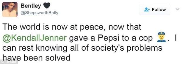 Kendall Pepsi ad tweet