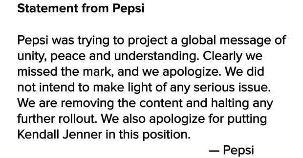 Pepsi statement