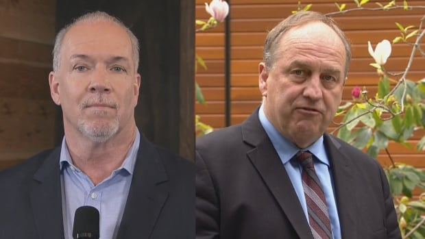 In some ridings, the combined votes from John Horgan's NDP, left, and Andrew Weaver's Greens, pictured on right, would have been enough to defeat the Liberals.