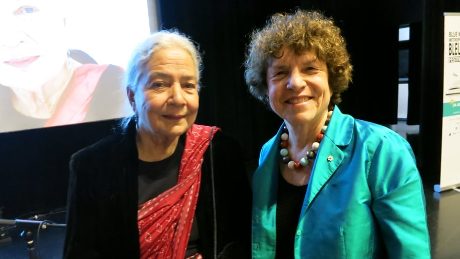Anita Desai and Eleanor Wachtel at the 2017 Blue Metropolis International Literary Festival in Montreal.