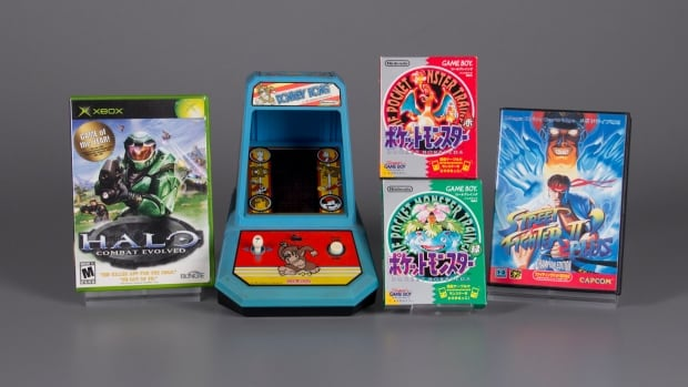From left to right: Halo Combat Evolved, Donkey Kong, Pokemon Red and Green and Street Fighter II, The Strong's 2017 inductees into the Video Game Hall of Fame.