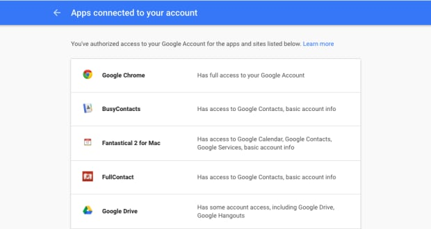 Google Account apps connected to your account gmail