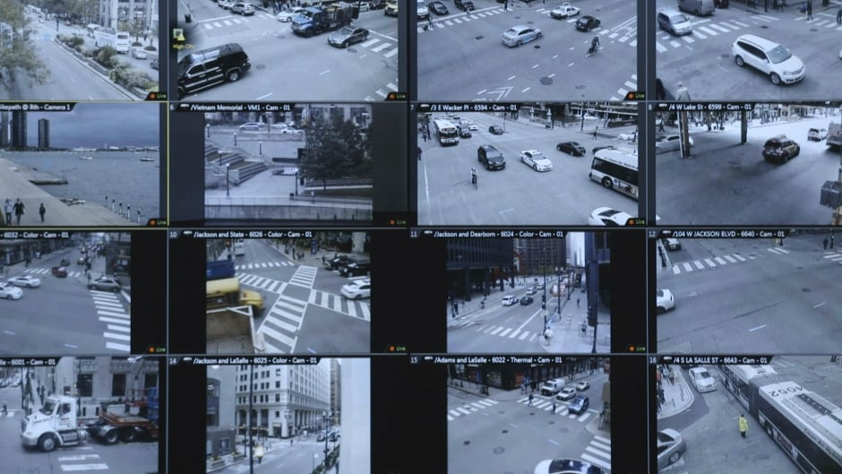 Cameras constantly monitor areas of downtown Chicago. Data from the images is used in predictive policing algorithms.