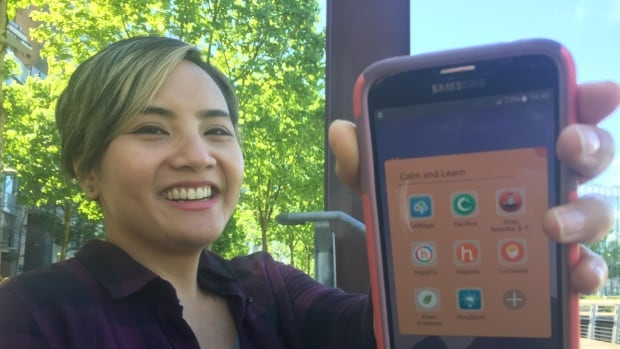 Diana Apuada often uses an offline app to find guided meditation techniques that fit her mood.