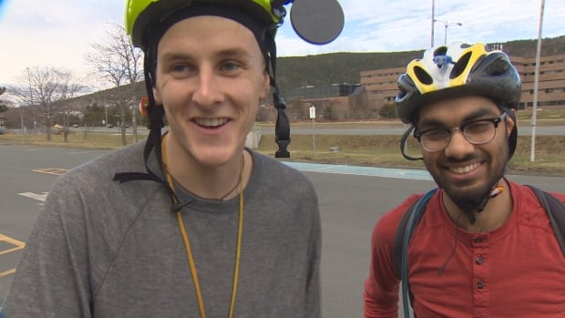 Jonathon Reed and Asad Chishti embarked on a cross-country cycling tour from St. John's on Thursday.