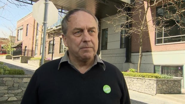 B.C. Green Party Leader Andrew Weaver, shown here in Nanaimo, says the ban would be part of a comprehensive suite of measures to protect farmland.