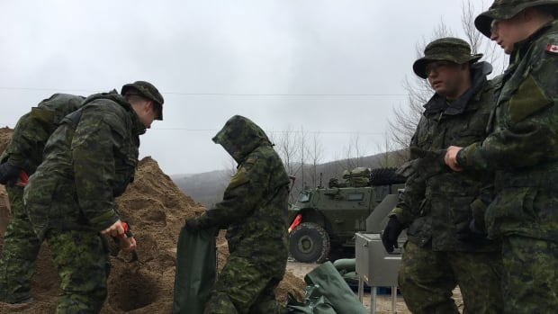 Canadian soldiers help fill sandbags in Pontiac which has been hard by severe floods.