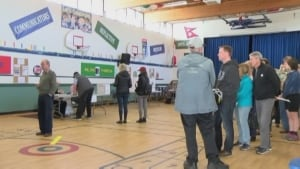 B.C. voters in line to vote in advance polls B.C. Votes 2017