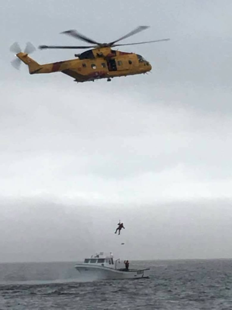 3 fishermen in Miramichi Bay hoisted to safety by Cormorant | CBC News
