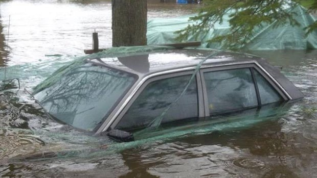 A car is submerged in water near Horton Township during the spring 2017 flooding.