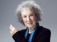 Margaret Atwood and Tom Power in the q studios in Toronto, Ont.