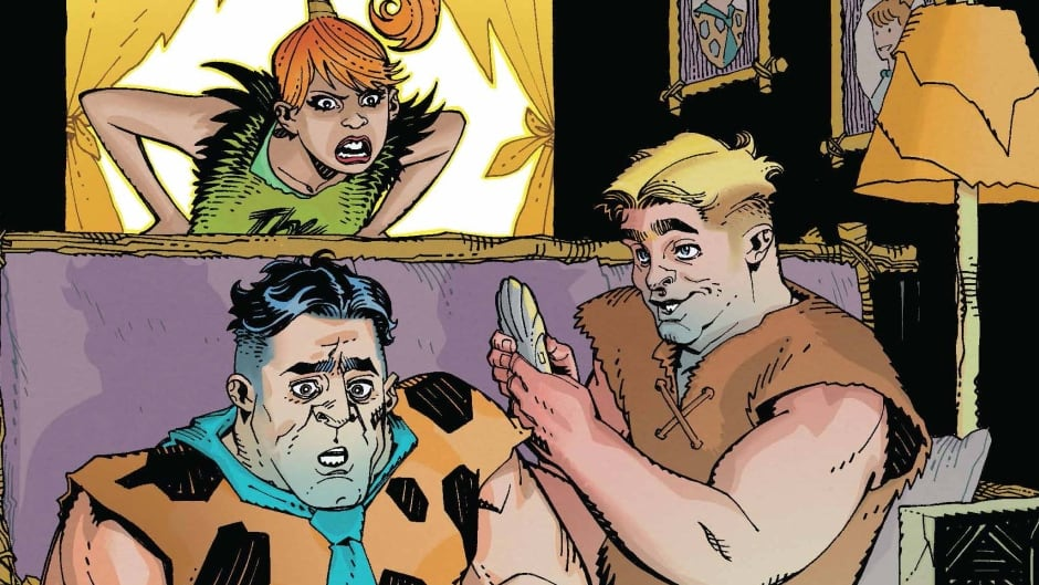 Mark Russell's new reboot of the classic Flintstones comics is described as a 'dark comedy.'