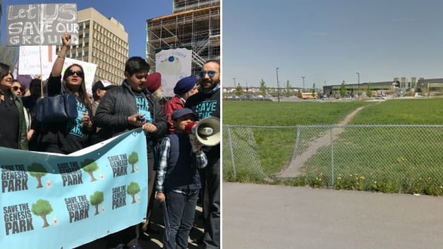Demonstrators gather outside city hall on Monday to protest the city's plan to change the use of a patch of grass near the Genesis Centre to allow for residential development.