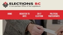 Elections BC website screenshot