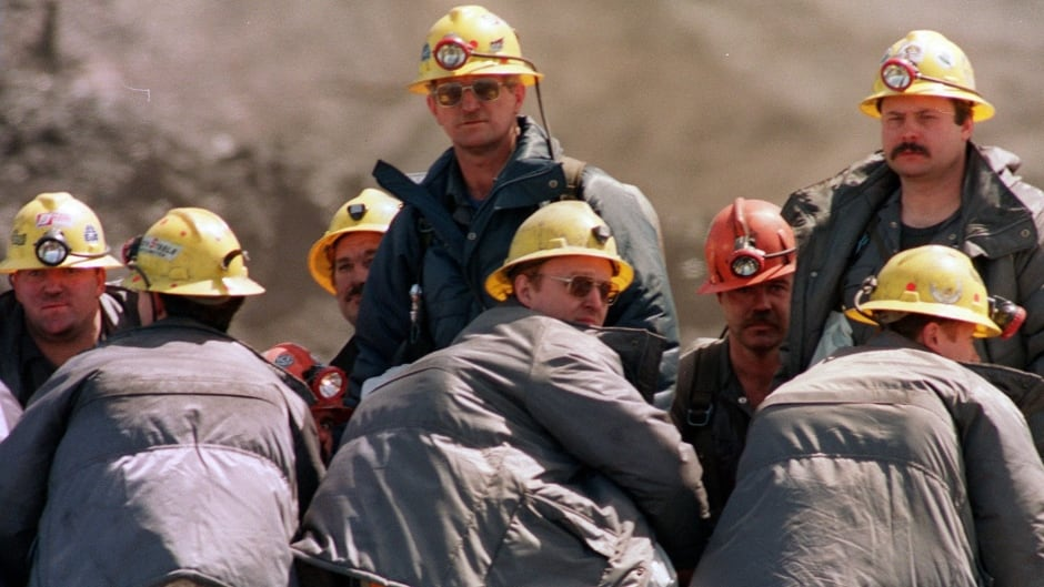 A truck load of rescue workers head to the entrance of the Westray coal mine in Plymouth, N.S., May 12, 1992 as they start another shift.