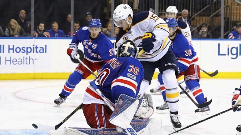 996d29cbd Buffalo Sabres  Jack Eichel scores a goal against New York Rangers  Henrik  Lundqvist at Madison Square Garden on January 3