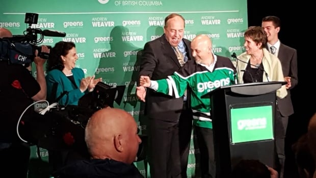 "Party leader Andrew Weaver introduces Cowichan Valley MLA-elect Sonia Furstenau and North Saanich MLA-elect Adam Olsen as ""the first ever Green elected caucus in North America"" early Wednesday morning."