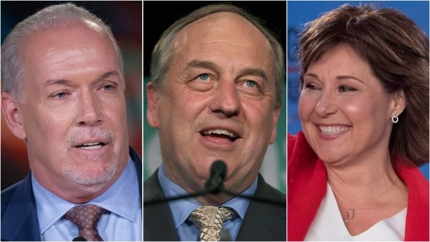 NDP Leader John Horgan, far left, and Liberal Leader Christy Clark, far right, will both be courting Andrew Weaver, centre, whose Green Party holds the balance of power after Tuesday's election.