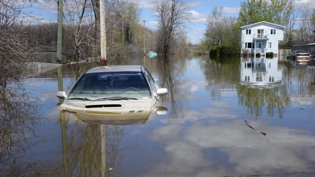 A parked car in flood waters the Gatineau, Que., area. A new report says preserving wetlands can help reduce the costs of floods.