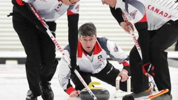 Ian MacAulay focuses on a shot at the World Senior Curling Championship in Lethbridge, Alberta.