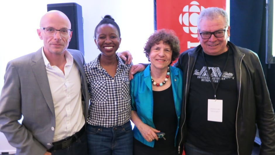 From left: David Treuer, Imbolo Mbue, Eleanor Wachtel and Francisco Goldman at the Blue Metropolis International Literary Festival.