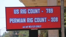 Midland rig count sign