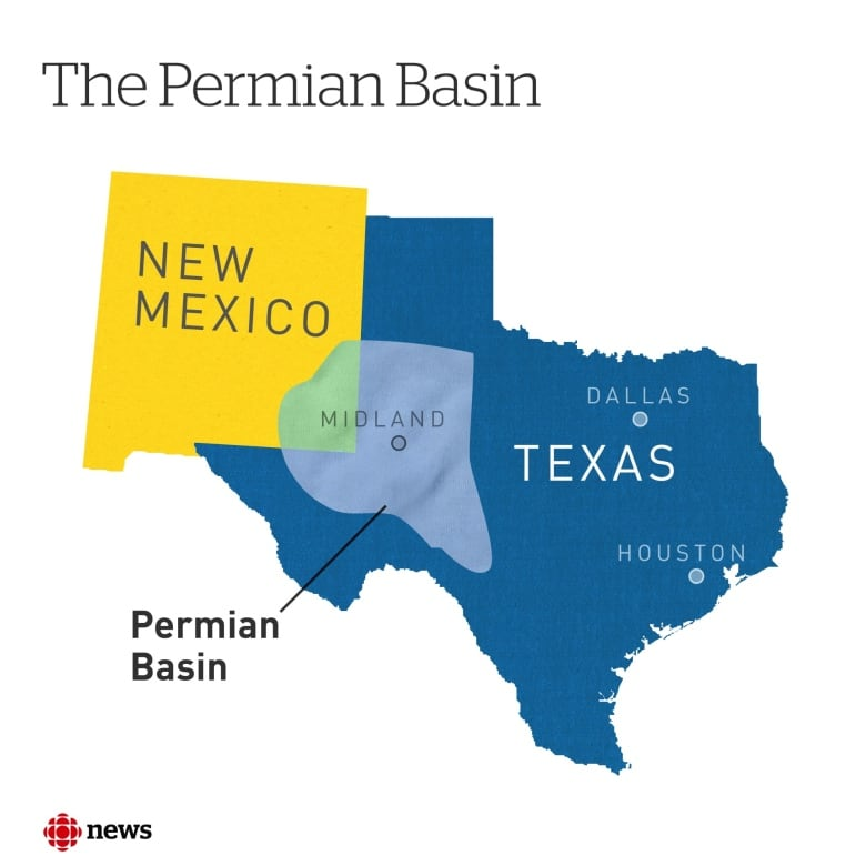 Map Of West Texas And New Mexico.West Texas Oil Boom Threatens Recovery In Canadian Oilpatch Cbc News