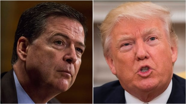 U.S. President Donald Trump called recently fired FBI director James Comey, left, a 'showboat' and 'grandstander' on Thursday. The president says he never tried to pressure Comey into dropping the bureau's investigation into allegations of collusion between Trump's campaign and the Russians during the 2016 election.