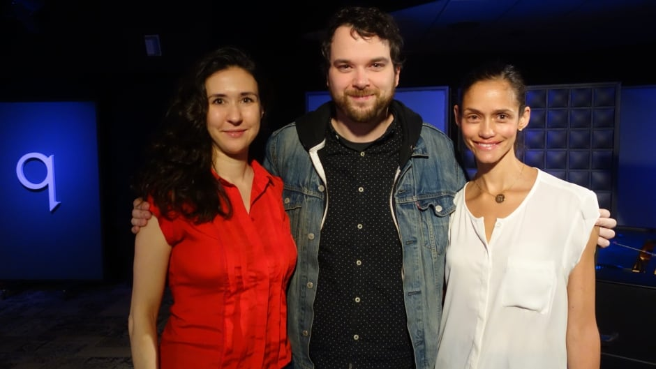 The National Ballet's Alejandra Perez-Gomez and Tanya Howard with Tom Power in the q studios in Toronto, Ont.